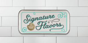 signature flavors tray on tile background